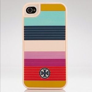 Tory Burch striped silicone phone case